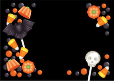 Halloween candy postcard. Halloween postcard with sweets, composing a frame for any text. Black background Stock Image
