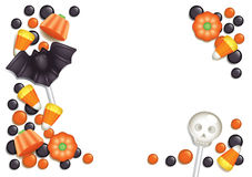 Halloween candy postcard. Halloween postcard with sweets, composing a frame for any text. White background Stock Photos