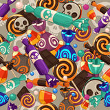 Halloween candy. Halloween seamless pattern with small sweets stock illustration