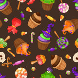 Halloween candy seamless pattern. Texture with sweets, candy corn and pumpkins on black background. Vector illustration Stock Photo