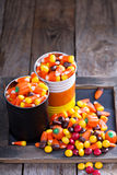 Halloween candy in small tins Stock Images