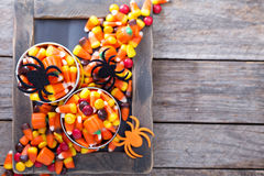 Halloween candy in small tins Royalty Free Stock Images