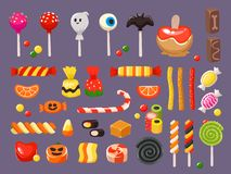 Halloween candy. Sweet candies, scary bat lollipop and sweets liquorice butterscotch vector illustration set stock illustration