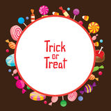 Halloween Candy with Trick Or Treat on Round Frame Stock Photos