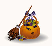 Halloween candy witch pumpkin Stock Image