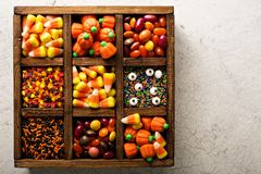 Halloween candy in a wooden box Stock Photography