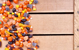 Halloween candy on a wooden crate Royalty Free Stock Photos