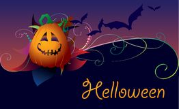 Halloween card. Halloween dark card with pumpkin and bats Royalty Free Stock Images