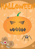 Halloween card. With pumpkin and teddy bear Stock Images
