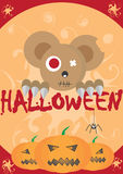 Halloween card. With pumpkins and teddy bear Royalty Free Stock Images