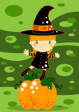 Halloween card. Illustrated Halloween card with a cute little witch and a big pumpkin on a green abstract background Royalty Free Stock Photos
