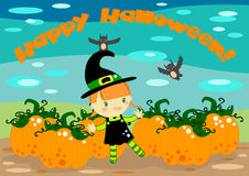 Halloween card. Illustrated Halloween card with a cute little witch and big pumpkins and bats in the background Royalty Free Stock Image