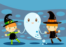 Halloween card. Illustrated Halloween card with 2 cute little witches and a ghost on an blue  abstract background Royalty Free Stock Photo