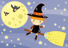 Halloween card. Illustrated Halloween card a cute little witches flying up in the starry sky Stock Photography