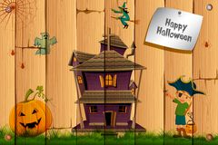 Halloween Card. Illustration of boy in pirate costume with pumpkin and haunted house on halloween card Stock Photo