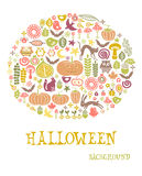 Halloween card. Colorful halloween invitation card.isolated on white background Stock Photos