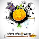 Halloween Card. Illustration of halloween card with pumpkin, skull and haunted house Royalty Free Stock Photography