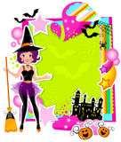 Halloween card. Colorful card with a witch and other halloween symbols Royalty Free Stock Photography
