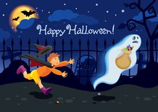 Halloween card. With a ghost who stole the candies from a boy Royalty Free Stock Images