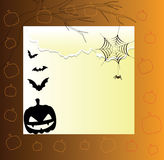 Halloween card. Beautiful card with a pumpkin and bats on the Halloween Stock Images