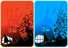 Halloween Card. Halloween theme cards with head and trees for your message Royalty Free Stock Photos