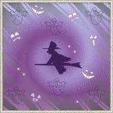 Halloween Card. Halloween background with Halloween silhouette stock illustration