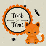 Halloween card or background with little fox Stock Images