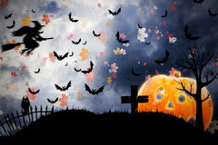 Halloween card. Halloween background or card with pumpkin royalty free illustration