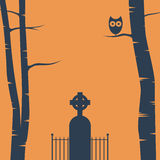 Halloween card background with trees, tombstone Royalty Free Stock Photography