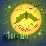 Halloween card with bat Royalty Free Stock Image