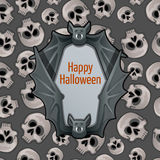Halloween card with bat and skulls Royalty Free Stock Photography
