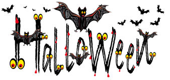 Halloween card with bats Stock Images