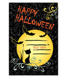 Halloween card with black cat and bats Royalty Free Stock Images