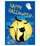 Halloween card with black cat, ghost and bats Stock Photography