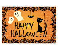 Halloween card with black cat and ghosts Royalty Free Stock Image