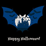 Halloween card with castle Royalty Free Stock Photos