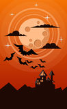 Halloween card with castle, moon and several bats  Royalty Free Stock Image