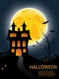 Halloween card with castle, pumkin, bats and moon Royalty Free Stock Images