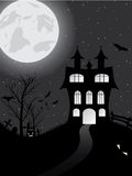 Halloween card with castle, pumpkin, bats and moon Stock Photos