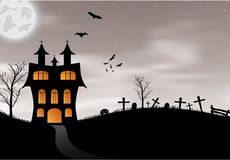 Halloween card with castle, pumpkin, bats and moon Stock Images