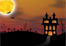 Halloween card with castle, pumpkin, bats and moon Royalty Free Stock Photo