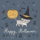 Halloween card with cat Stock Photography