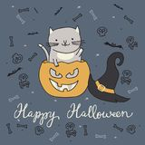 Halloween card with cat Royalty Free Stock Photography
