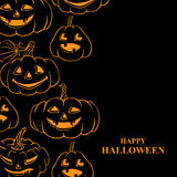 Halloween card with contour pumpkins on black background Stock Images