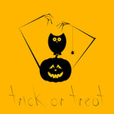Halloween card with creepy pumpkin and owl Royalty Free Stock Images