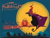 Halloween card with cute black cat riding on a witch broom vector illustration