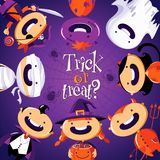 Halloween card with cute cartoon children in colorful costumes Stock Photo