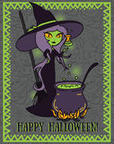 Halloween card with cute doodle witch Royalty Free Stock Photo
