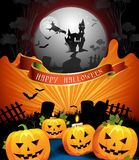 Halloween card design. With pumpkins Royalty Free Stock Photography