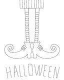 Halloween card design with witch legs. Antistress coloring book.. Halloween card design with witch legs. Antistress coloring book. Hand drawn elements for your Stock Images